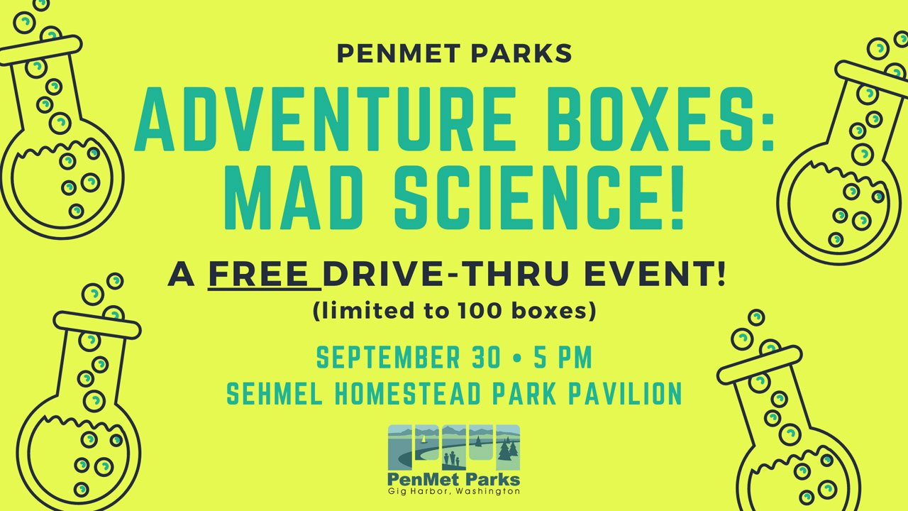 Adventure Boxes: Mad Science. A free drive-thru event Sept 30, 2020